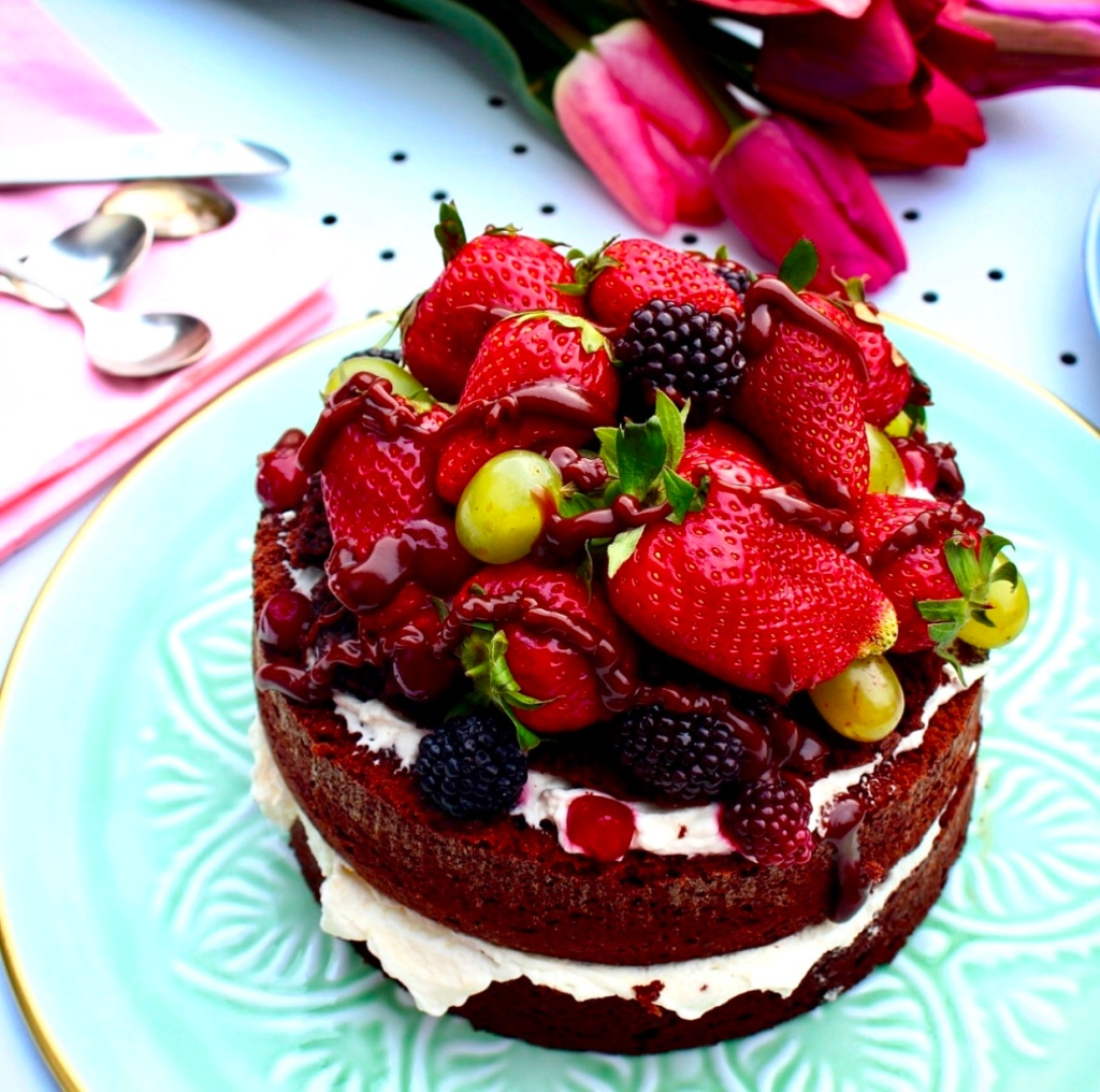 Chocolate Layer Cake with fruits